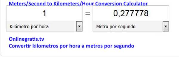Convertir Kilometros Por Hora A Metros Por Segundo